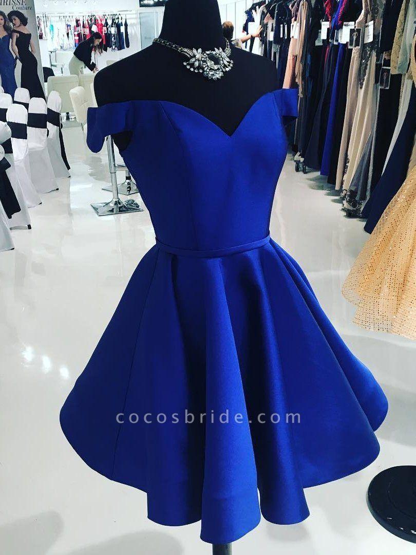 Simple Off-the-Shoulder V-Neck Homecoming Dress