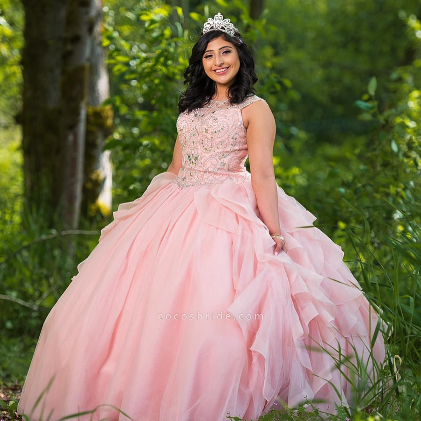 Fascinating Jewel Tulle Ball Gown Quinceanera Dress