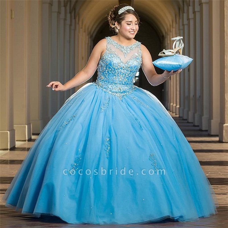 Precious Jewel Tulle Ball Gown Quinceanera Dress