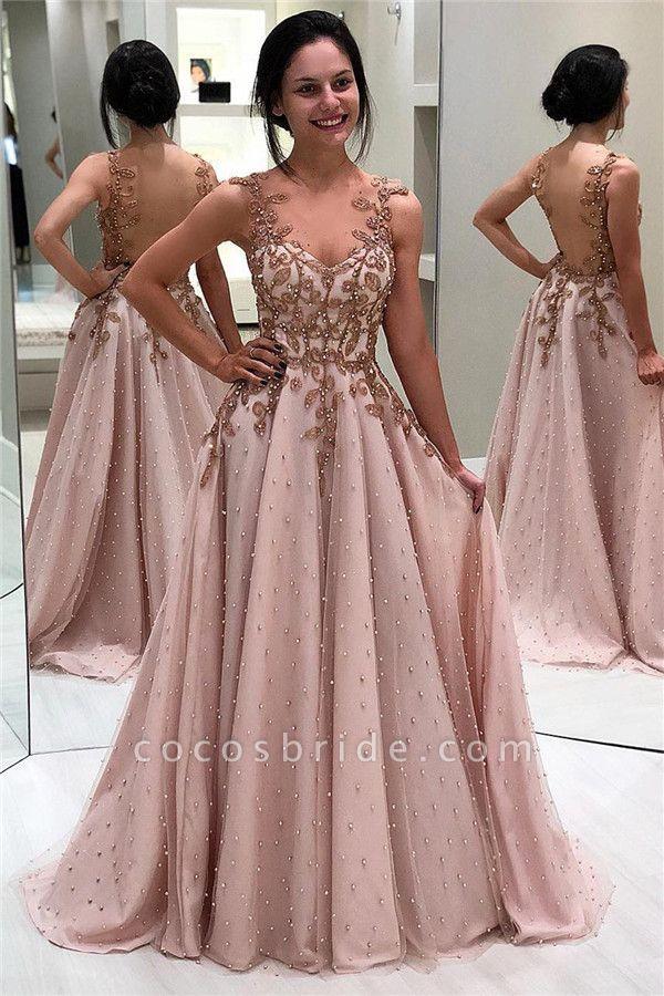 Amazing Spaghetti Straps Beading A-line Prom Dress