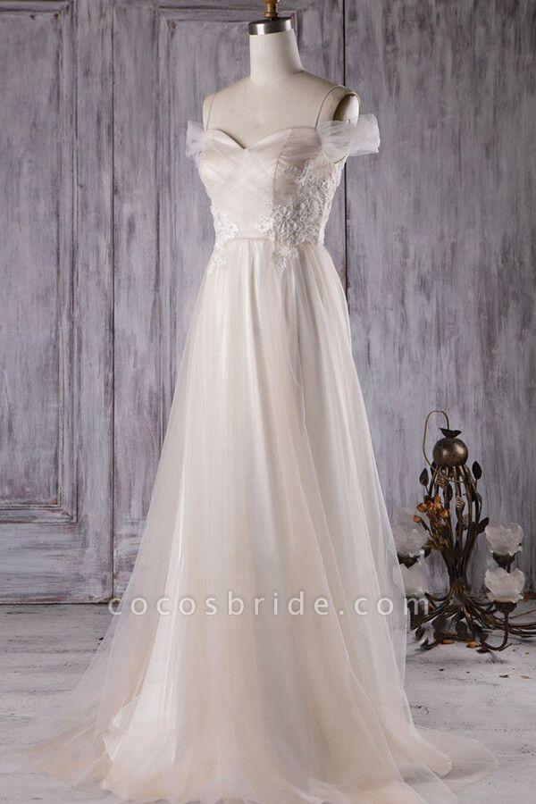 Elegant Cold-shoulder Sweep Train Wedding Dress