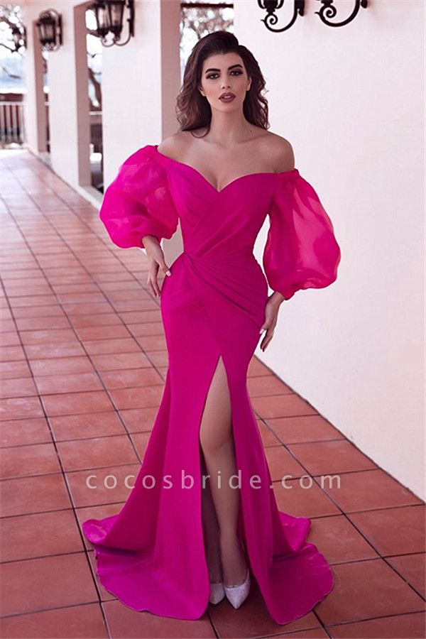 Fabulous Off-the-Shoulder Front-Slit Evening Dress