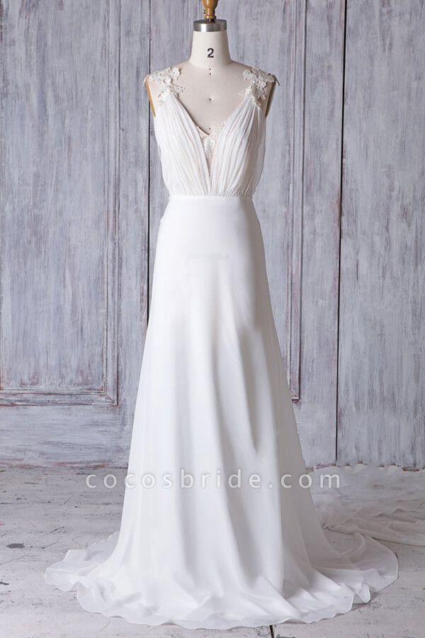 Affordable Ruffle Chiffon Sheath Wedding Dress