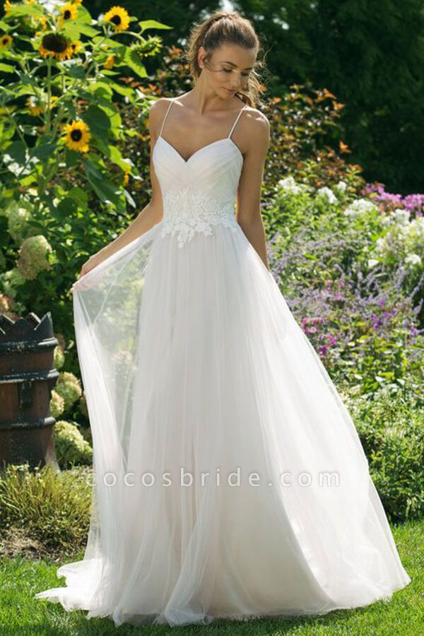 Appliques Spaghetti Strap A-line Wedding Dress