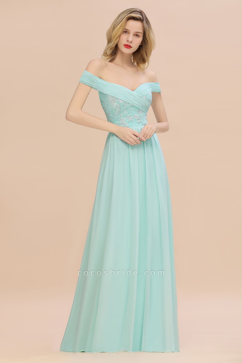 BM0754 Appliques A-line Sweetheart Ruffles Simple Bridesmaid Dress