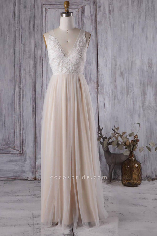 Elegant V-neck Lace A-line Wedding Dress