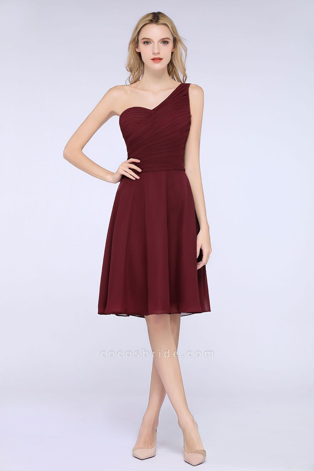 A-Line Chiffon One-Shoulder Sweetheart Sleeveless Knee-Length Bridesmaid Dress with Ruffles