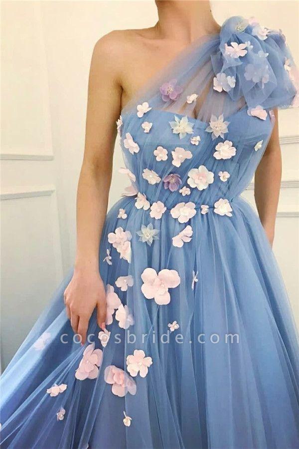 Fascinating One Shoulder Tulle A-line Evening Dress