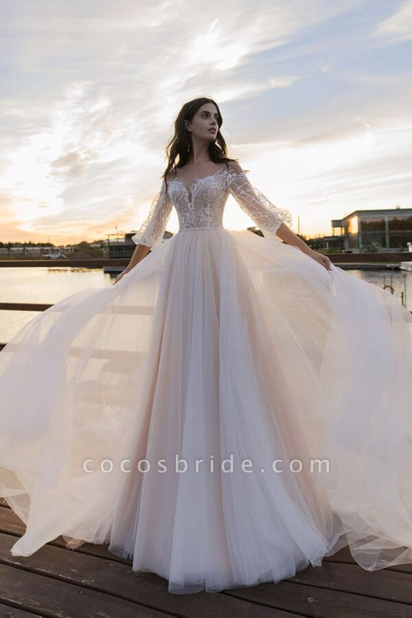 Eye-catching Lace Tulle Chapel Train Wedding Dress
