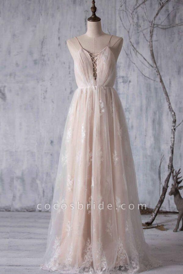 Spaghetti Strap Ruffle Lace A-line Wedding Dress