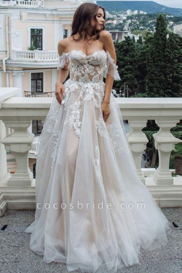 Appliques Court Train A-line Tulle Wedding Dress
