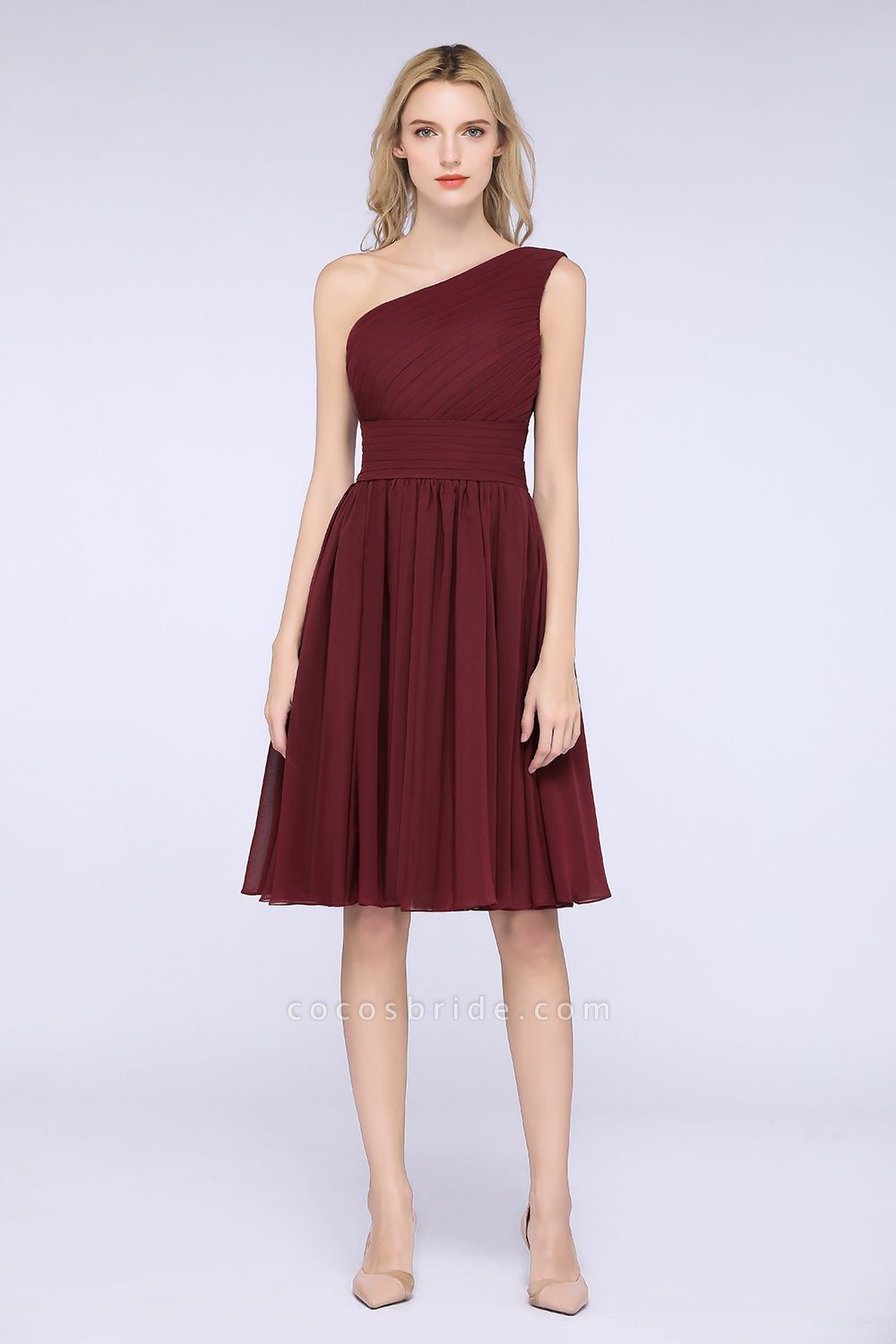 A-Line Chiffon One-Shoulder Sleeveless Knee-Length Bridesmaid Dress with Ruffles