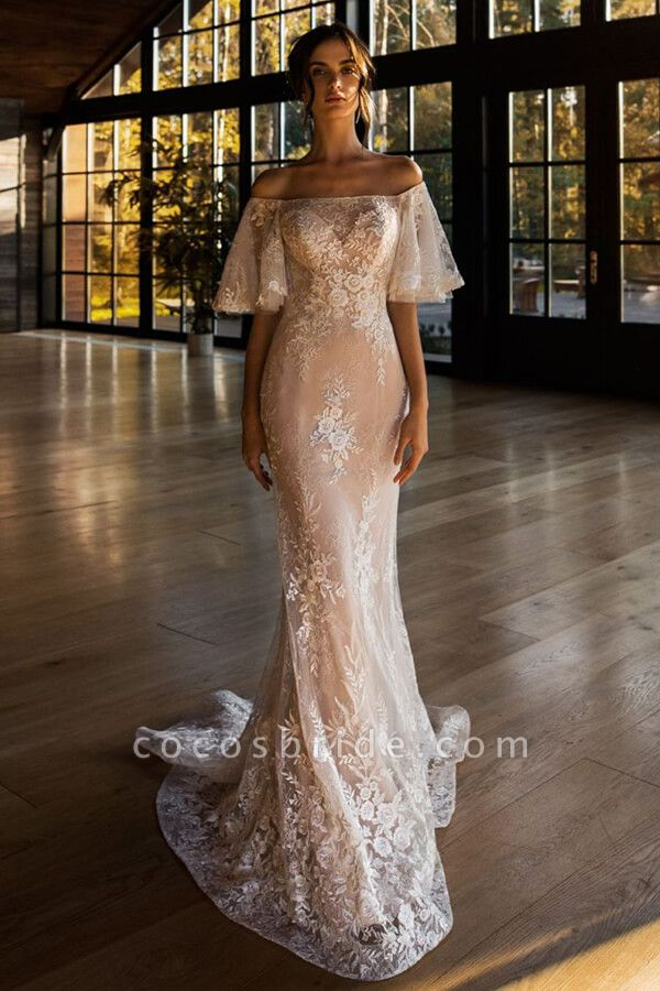 Awesome Off-the-shoulder Lace Sheath Wedding Dress