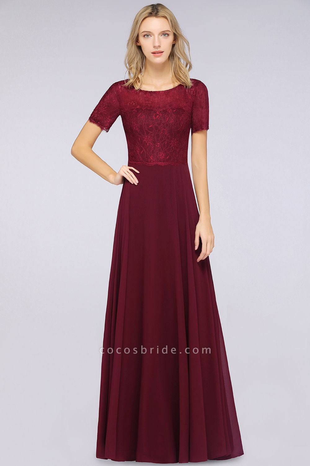 A-Line Chiffon Lace Round-Neck Short-Sleeves Floor-Length Bridesmaid Dress