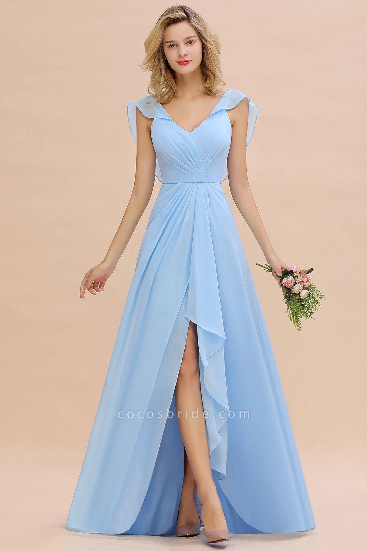 BM0777 Simple Hi-Lo V-Neck Ruffles Long Bridesmaid Dress