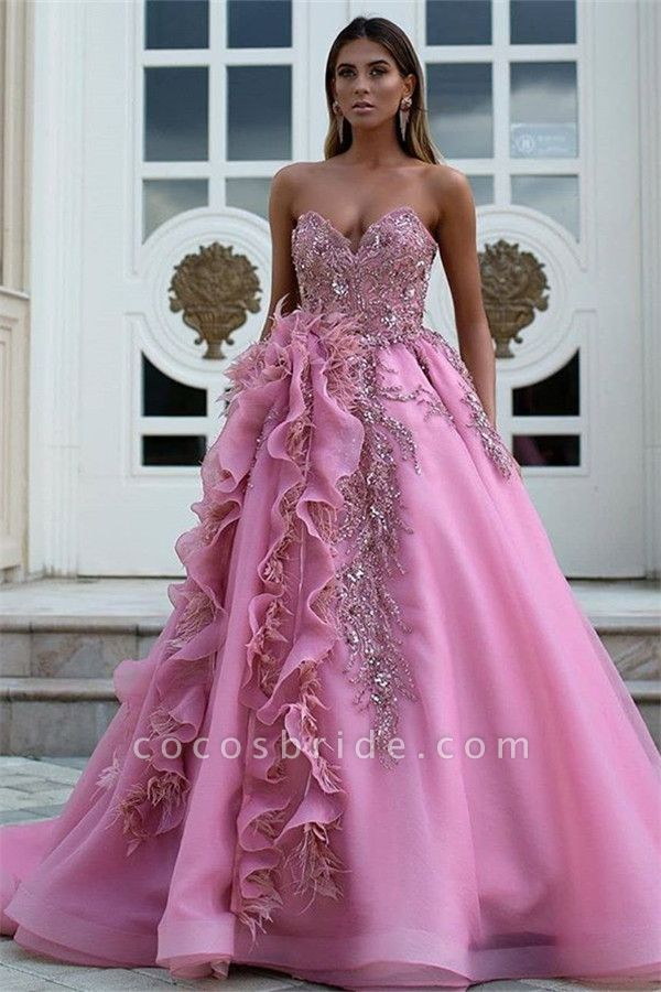 Latest Sweetheart Tulle Ball Gown Evening Dress