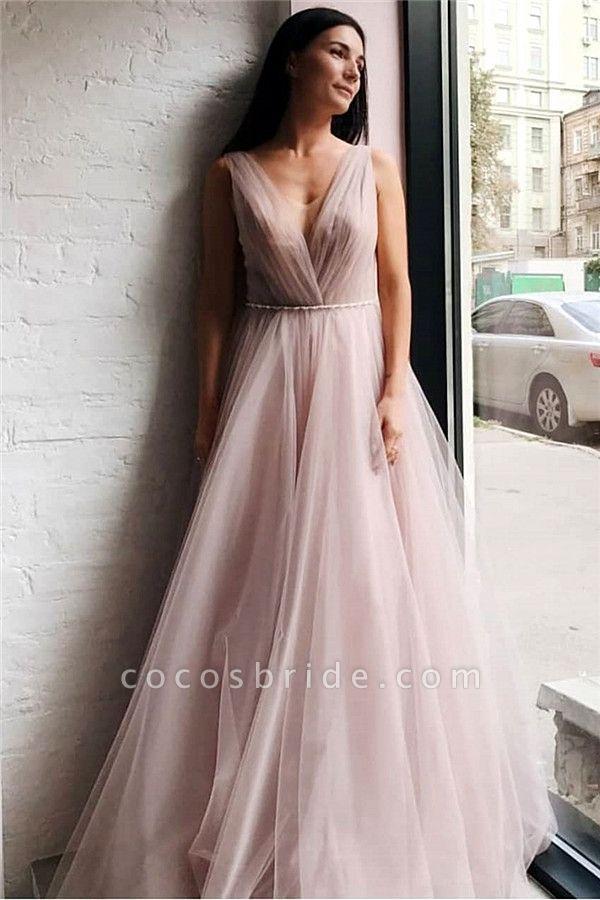 Affordable V-neck Tulle A-line Evening Dress