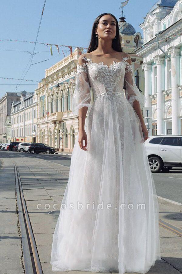 Latest Court Train Tulle Appliques Wedding Dress