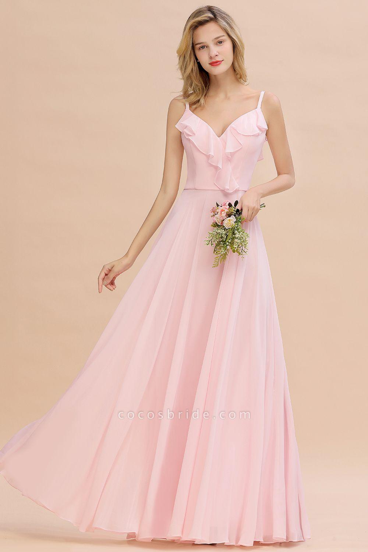 BM0784 Stylish Straps V-neck A-line Long Bridesmaid Dress