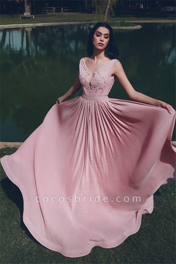 Sleek V-neck Chiffon A-line Evening Dress
