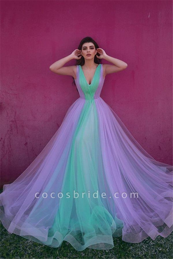 Best V-neck Tulle A-line Evening Dress