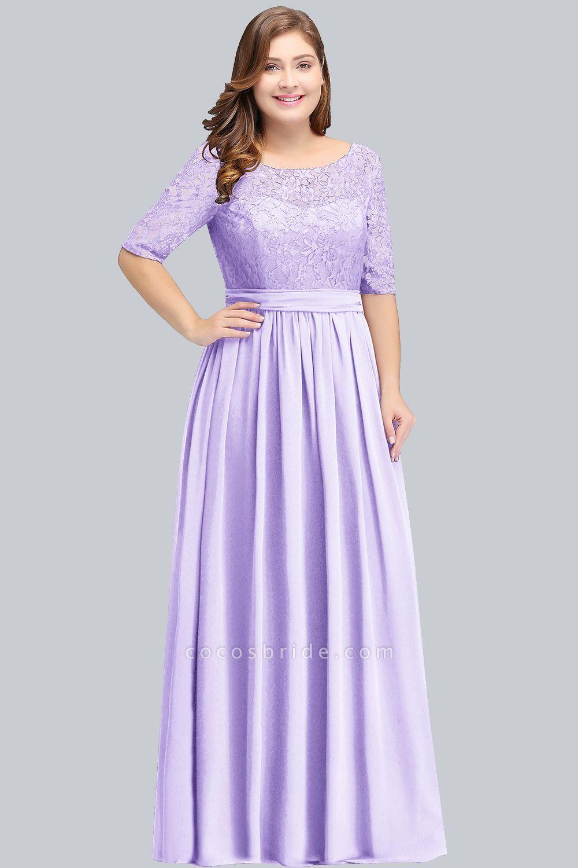 BM0952 Plus Size Elegant Half-Sleeves Lace Bridesmaid Dresses with Bow