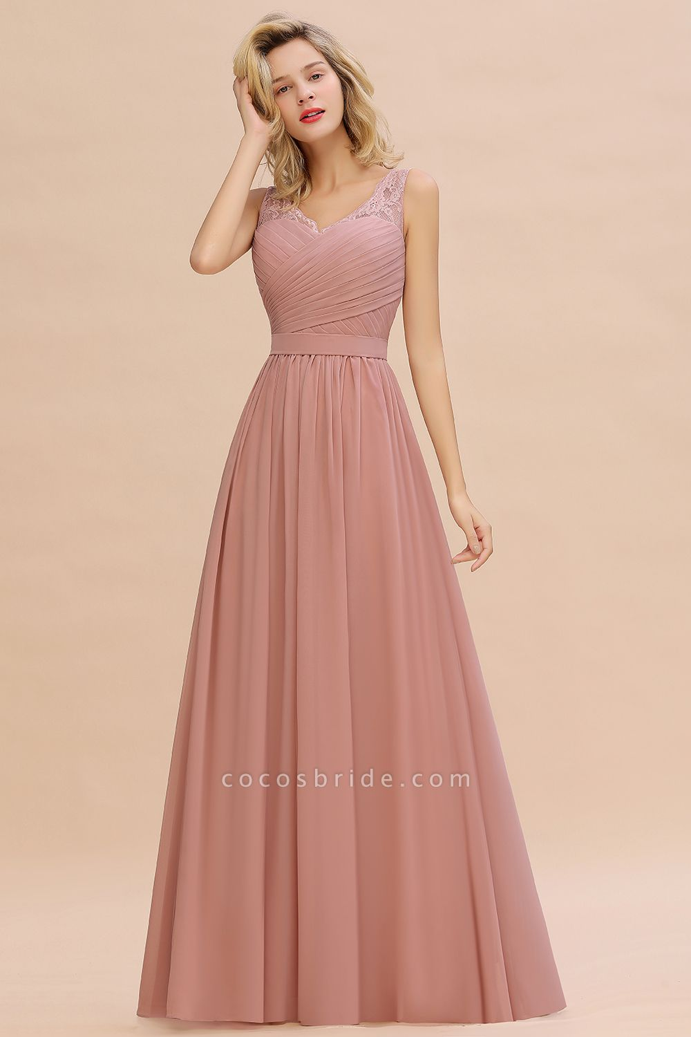 Eye-catching V-neck Lace A-line Evening Dress