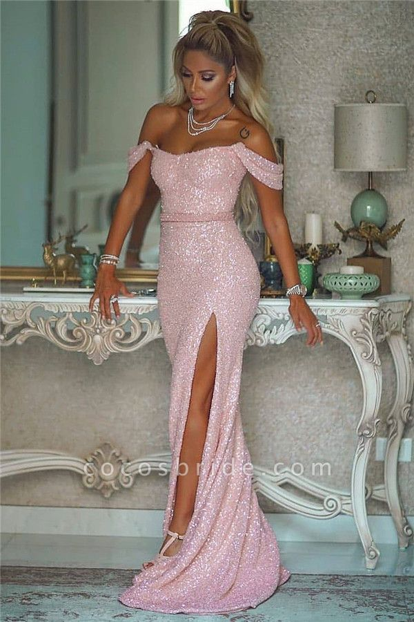 Fabulous Off-the-shoulder Sequined A-line Evening Dress