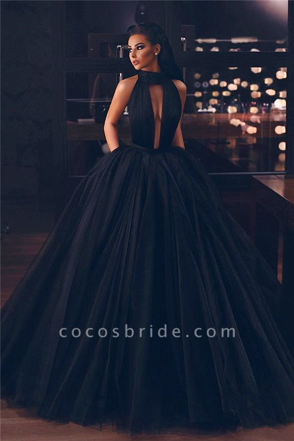 Exquisite High Neck Chiffon A-line Evening Dress