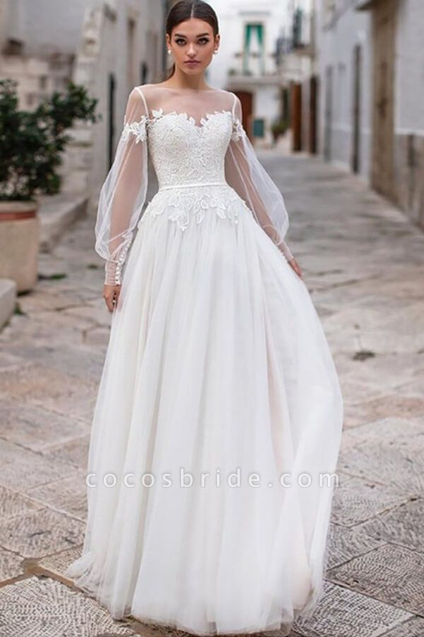 Long Sleeve A-line Appliques Tulle Wedding Dress