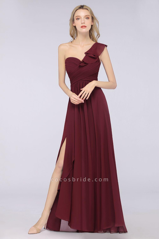 A-Line Chiffon One-Shoulder Sweetheart Sleeveless Floor-Length Bridesmaid Dress with Ruffles
