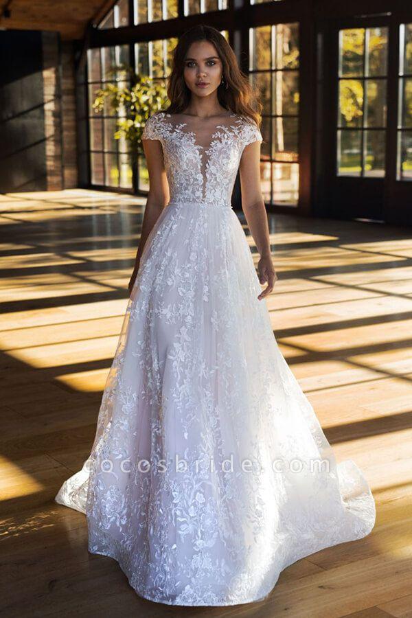 Charming Cap Sleeve A-line Tulle Wedding Dress