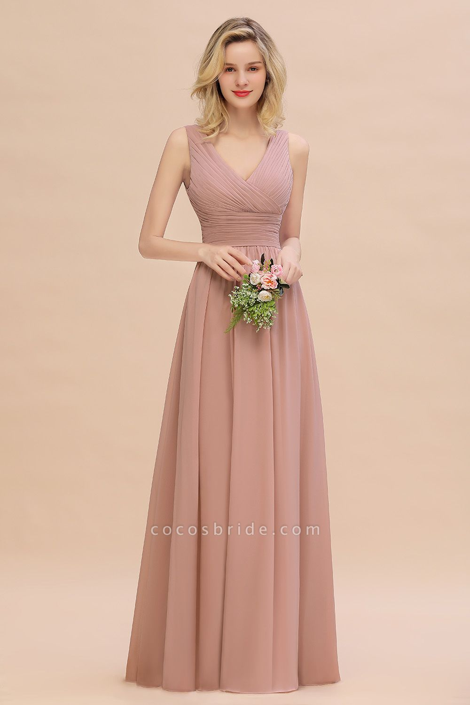 BM0752 Elegant A-line V-Neck Ruffles Long Bridesmaid Dress