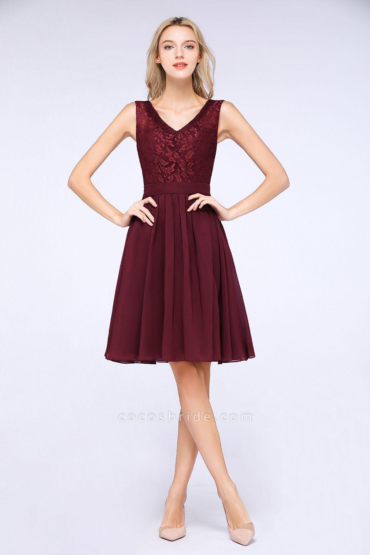 A-Line Chiffon Lace V-Neck Sleeveless Knee-Length Bridesmaid Dress with Ruffles