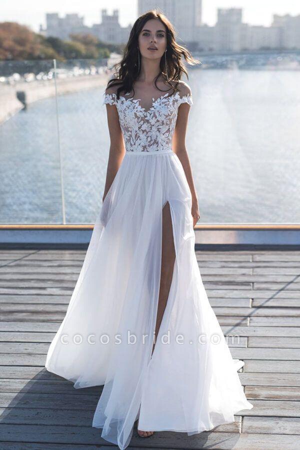 Front Slit Appliques Tulle A-line Wedding Dress
