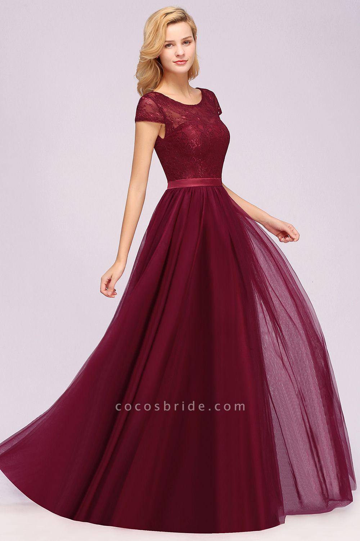 A-Line Chiffon Jewel Sleeveless Floor-Length Bridesmaid Dresses with Ruffles