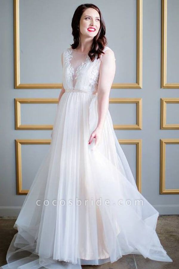 Graceful Appliques Sweep Train A-line Wedding Dress