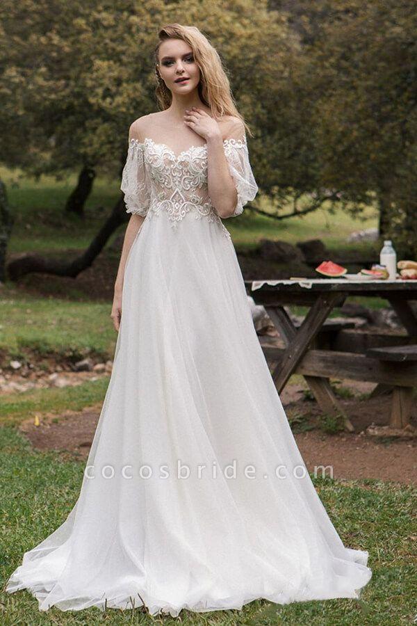 Elegant Half-sleeve Appliques Tulle Wedding Dress