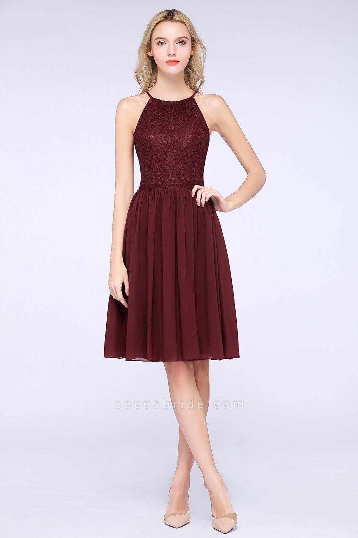 A-line Chiffon Lace Jewel Sleeveless Knee-Length Bridesmaid Dresses with Ruffles