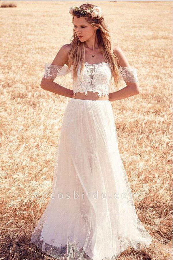Chic Appliques Tulle Off-the-shoulder Wedding Dress
