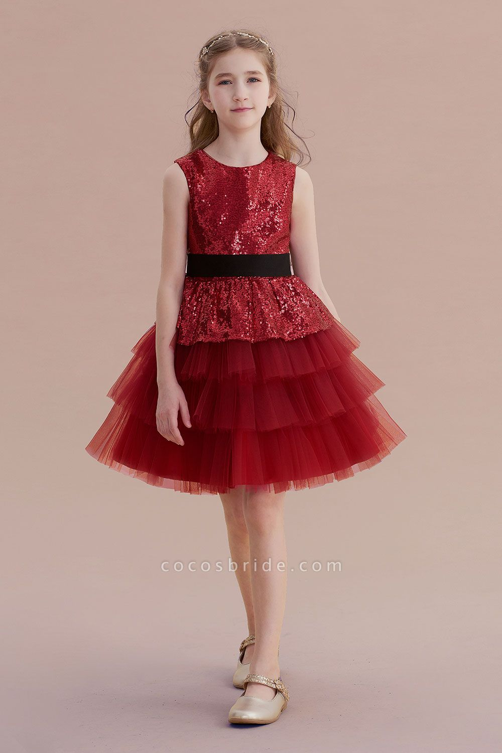 Tulle Sequins A-line Knee Length Flower Girl Dress