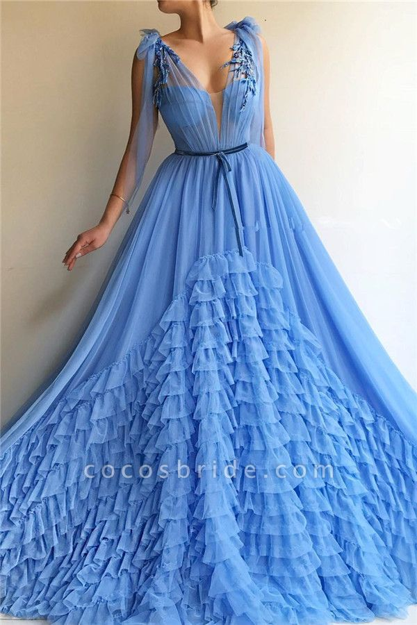 Fascinating V-neck Tulle A-line Prom Dress