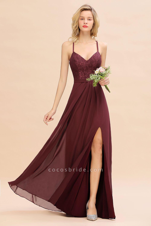 BM0753 Lace Spaghetti Straps A-Line Bridesmaid Dress