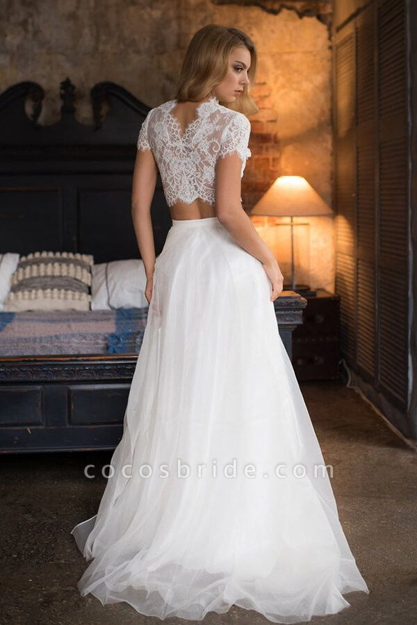 Short Sleeve Lace Tulle Two Piece Wedding Dress