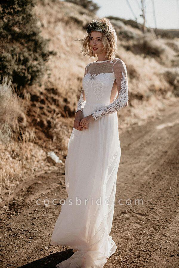 Open Back Long Sleeve Chiffon A-line Wedding Dress