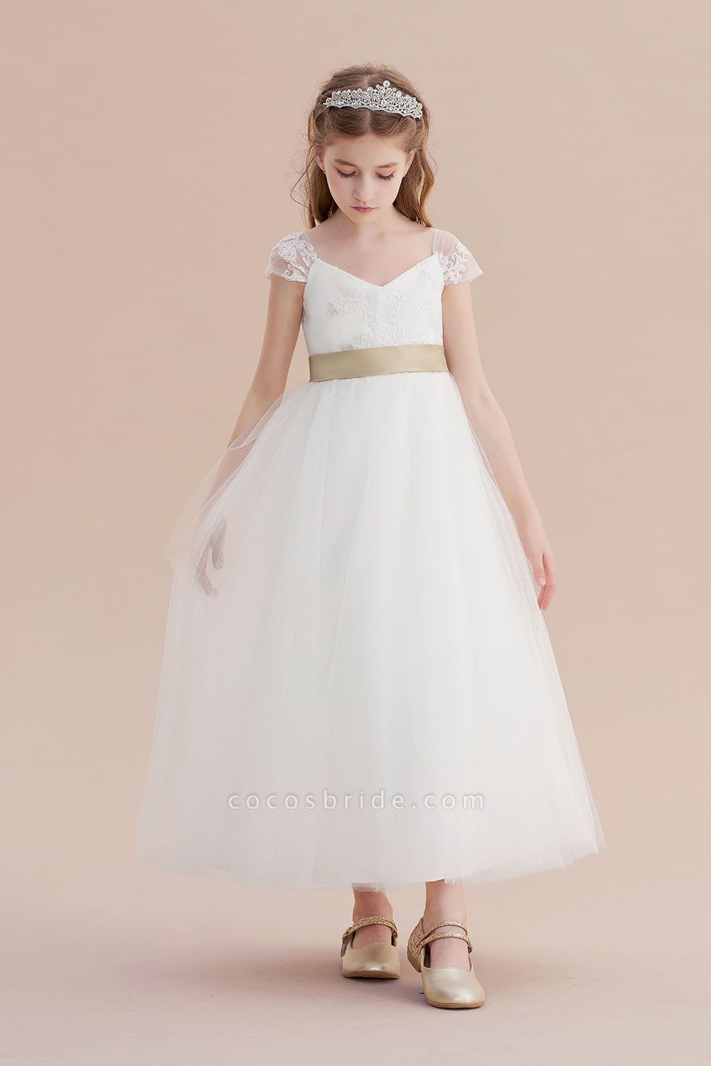 Cap Sleeve Sweetheart Tulle Flower Girl Dress