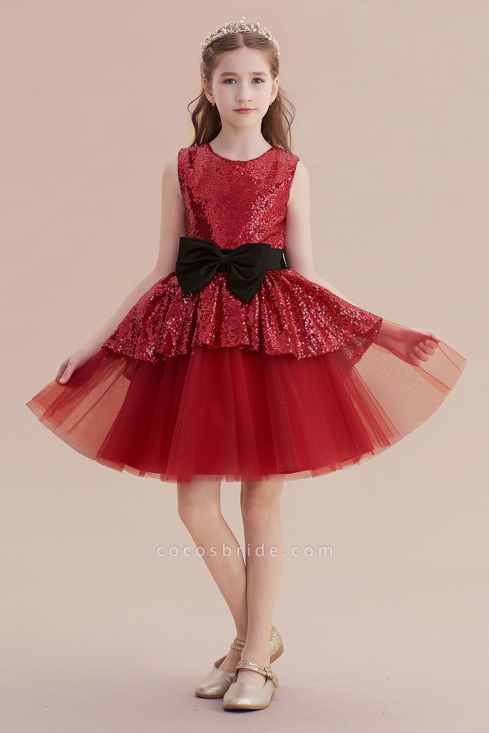 Bows Sequins Tulle A-line Flower Girl Dress