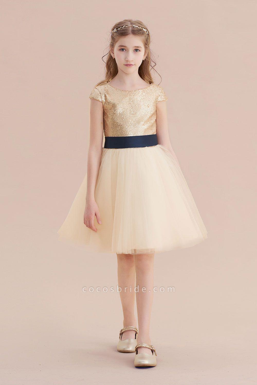 Sequins Tulle Cap Sleeve A-line Flower Girl Dress