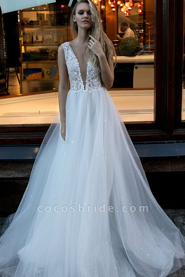 Chic V-neck Pearl Lace Tulle A-line Wedding Dress