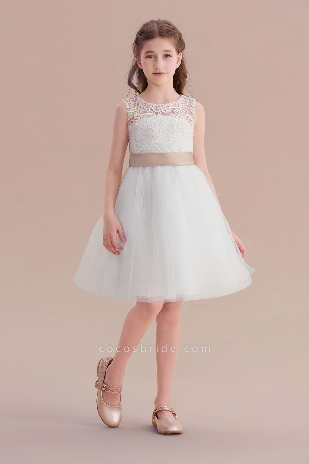 Bow Tulle Lace Knee Length A-line Flower Girl Dress
